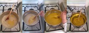 The creation of our playdough - the kids each had a turn mixing